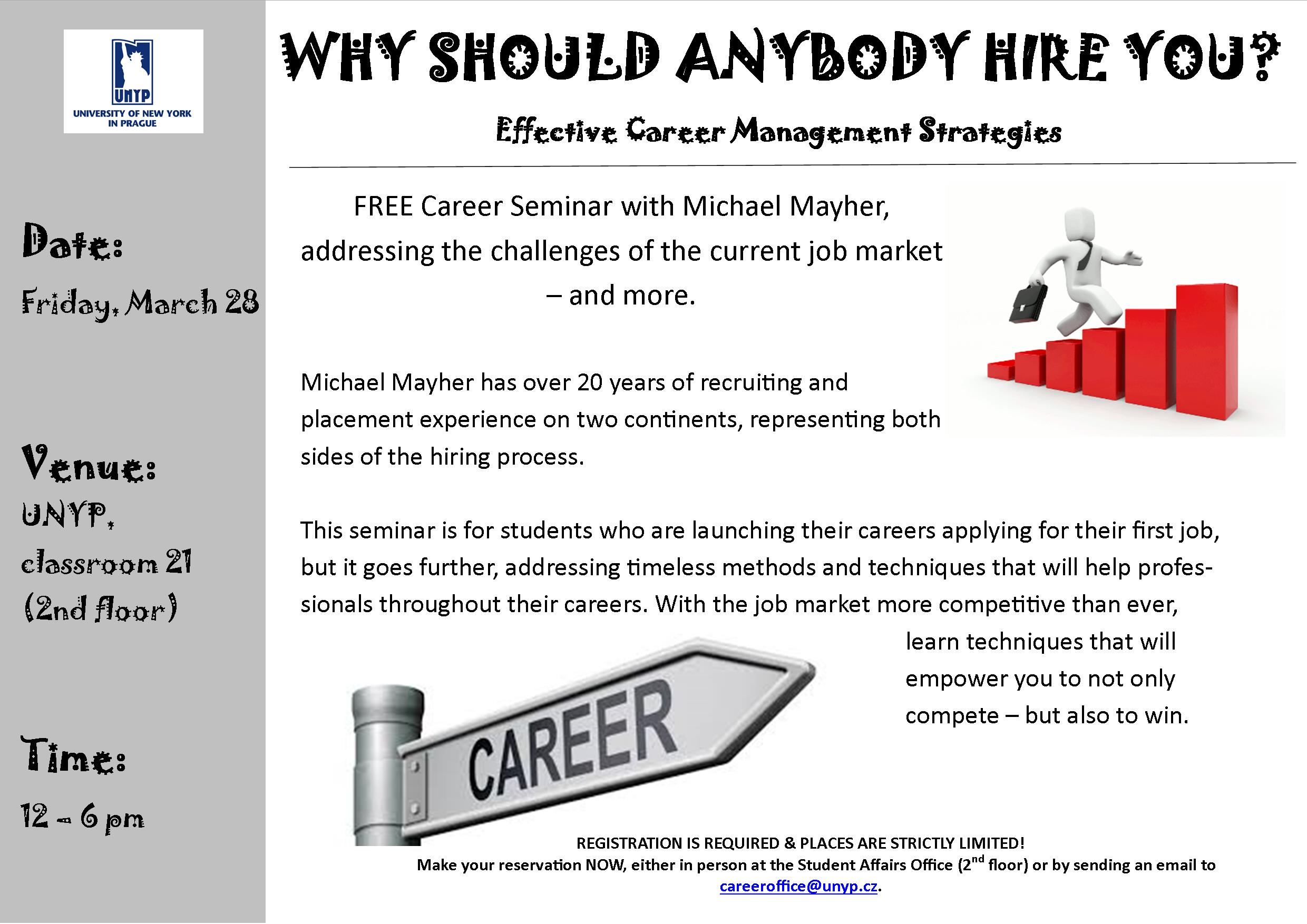 Invitation To A Free Career Seminar By Michael Mayher University Of New York In Prague
