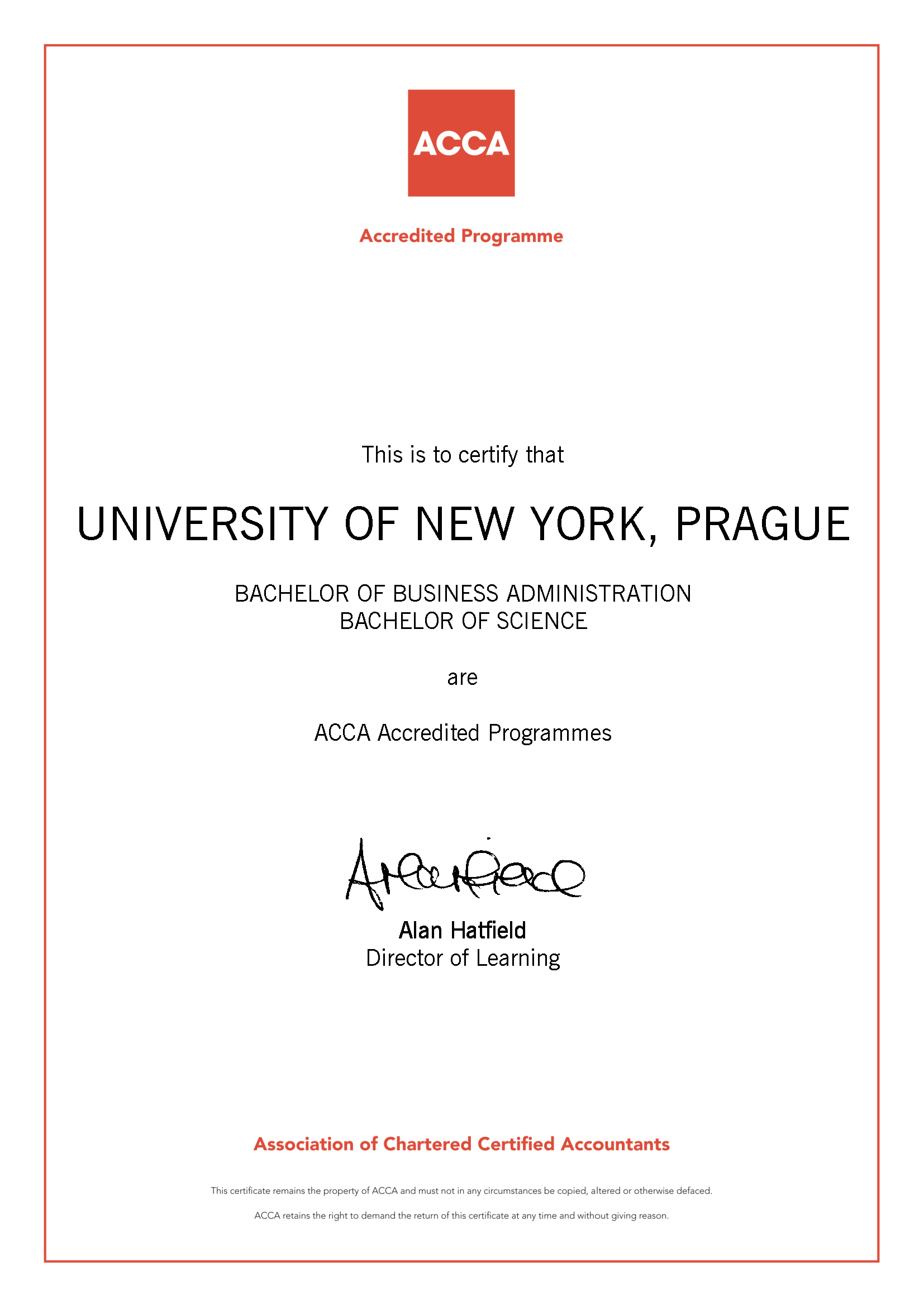 Unyp gets acca accreditation university of new york in prague acca accreditation certificate 1betcityfo Gallery