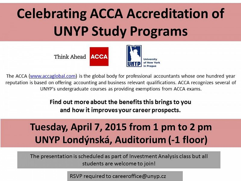 ACCA Presentation at UNYP | University of New York in Prague